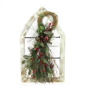 """29.5"""" White Window Frame with Mixed Pine and Berry Swag Christmas Wall Decoration"""