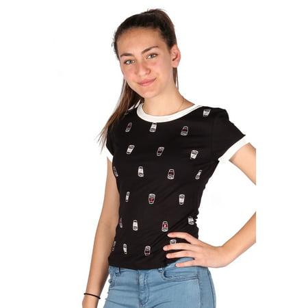 Lori & Jane Girls Black Short Sleeve Cuff Trendy T-Shirt Jane Tall Cuff