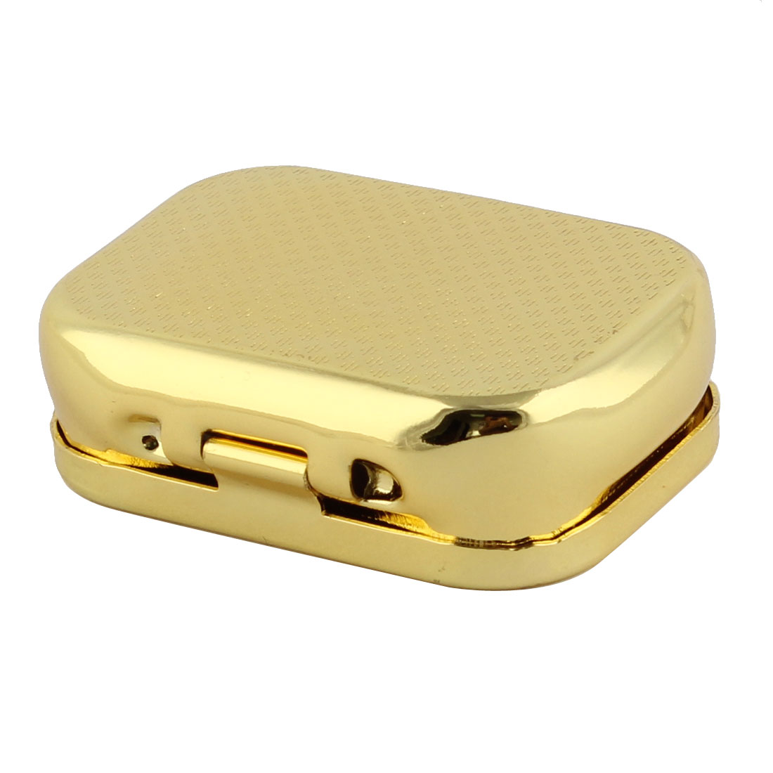 Metal Rectangle 2 Grid Detachable Pill Organizer Storage Case Gold Tone