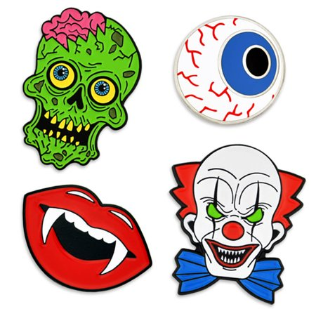 PinMart Halloween Horror Clown Zombie Fangs Eyeball Holiday Enamel Lapel Pin Set - Universal Studios Halloween Horror Nights Clown