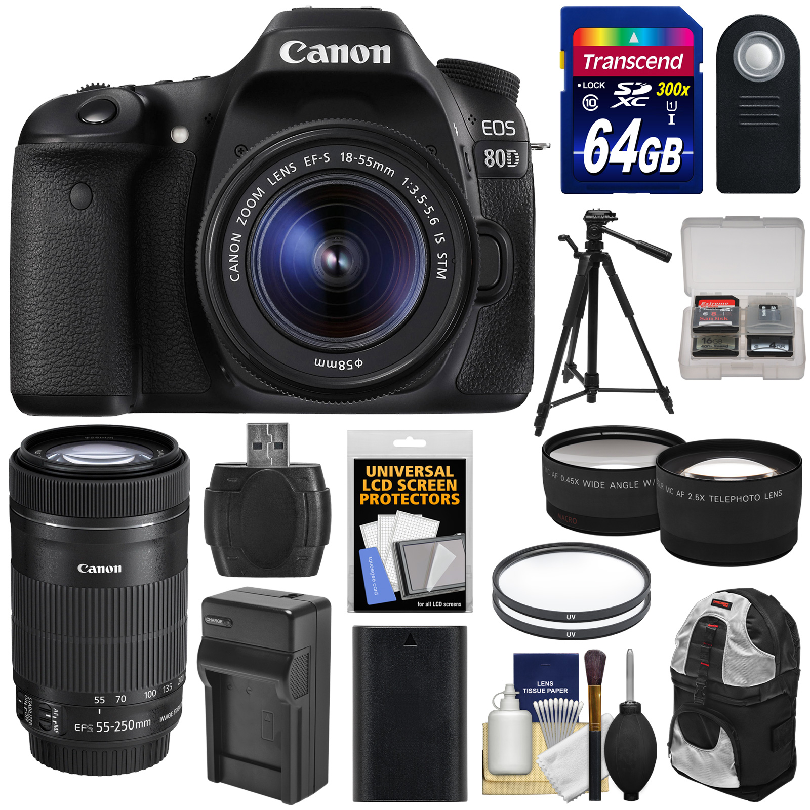 Canon EOS 80D Wi-Fi Digital SLR Camera & EF-S 18-55mm IS STM with 55-250mm IS STM Lens + 64GB + Battery &... by Canon