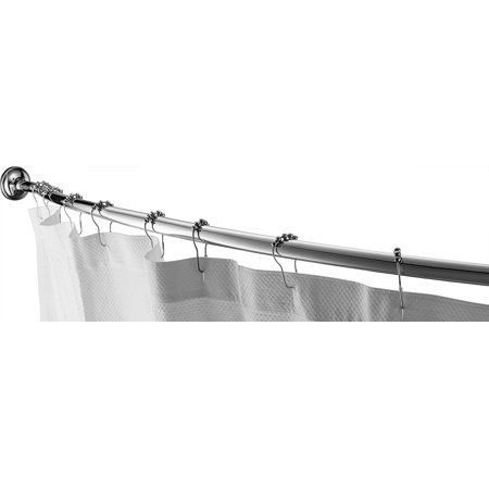"""Home Basics Wall Mounted Curved Shower Rod Extendable/Adjustable 42"""" To 72"""" Length for Customized Fit , Non Rust, Hardware Included, Adds Up To 5 Inches of Shower Space Chrome Curves Wall Mount Bath"""