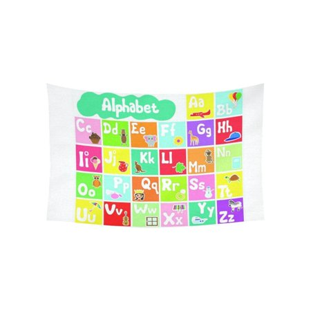 PHFZK Educational Wall Art Home Decor, ABC Alphabet Fun Learning Chart Tapestry Wall Hanging 40 X 60 - Abc Baby Wall Hanging