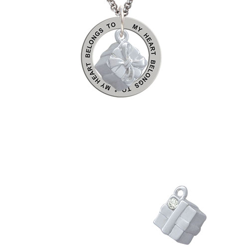 3-D Present Box with Bow and Crystal My Heart Belongs To Affirmation Ring Necklace