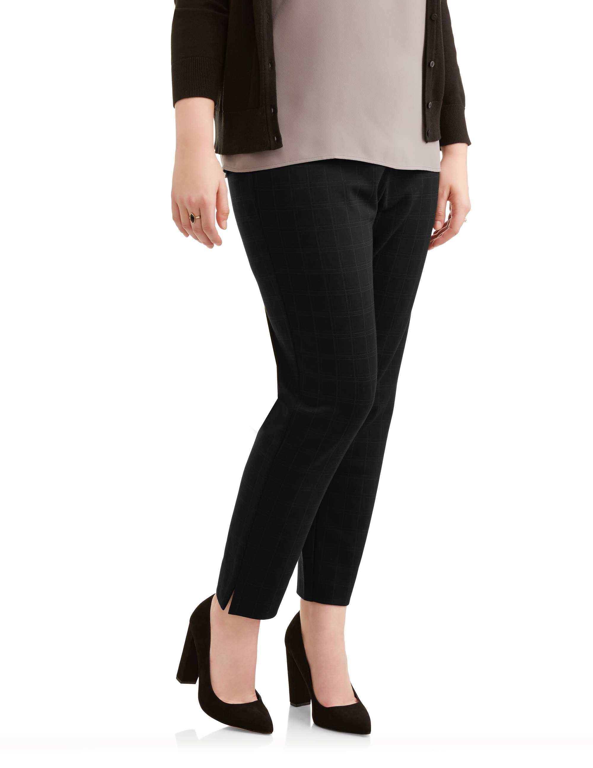 Lifestyle Attitudes Women's Plus Ankle Length Plaid Knit Career Pant
