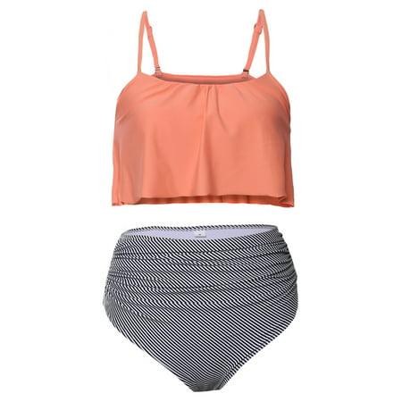 Womens Two Piece Falbala Ruffle Ruched High Waisted Bikini (Bikinis Solid Ruched Bikini)