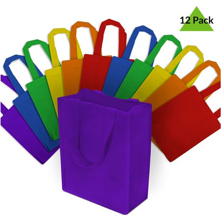 8x10x4  Medium Multi Color Reusable Gift Bags, Shopping Bags, Grocery Bags Medium size multi color reusable gift bags measure 8 W x 10 H X 4 D and comes with 12 bags. Made from durable and reusable PPNW fabric. Great as gift bags, retail shopping bags, grocery bags, event bags or as food servcie take out bags. Place a logo sticker on them to create your own randed bags.