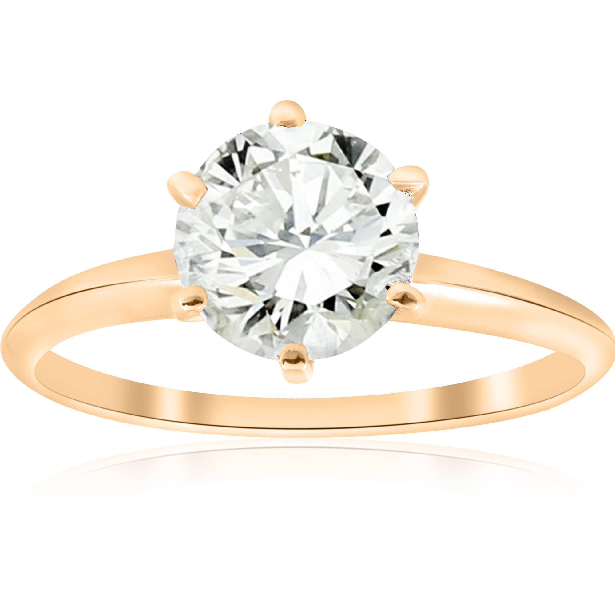 Huge 14k Yellow Gold 1 1 2 ct Round Solitaire Diamond Engagement Ring Enhanced by Pompeii3