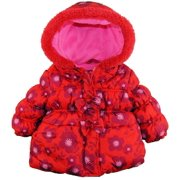 Platinum Baby Girls Daisy Floral Print Hooded Puffer Winter Jacket Coat with Bow