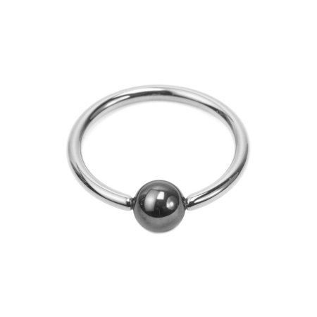 Solid Titanium Captive Bead Ring 16G with Hematite Bead
