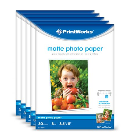 Printworks Matte Photo Paper for Inkjet Printers, Printable on Both Sides, 8 mil, (5 pack bundle) 150 Sheets, 8.5