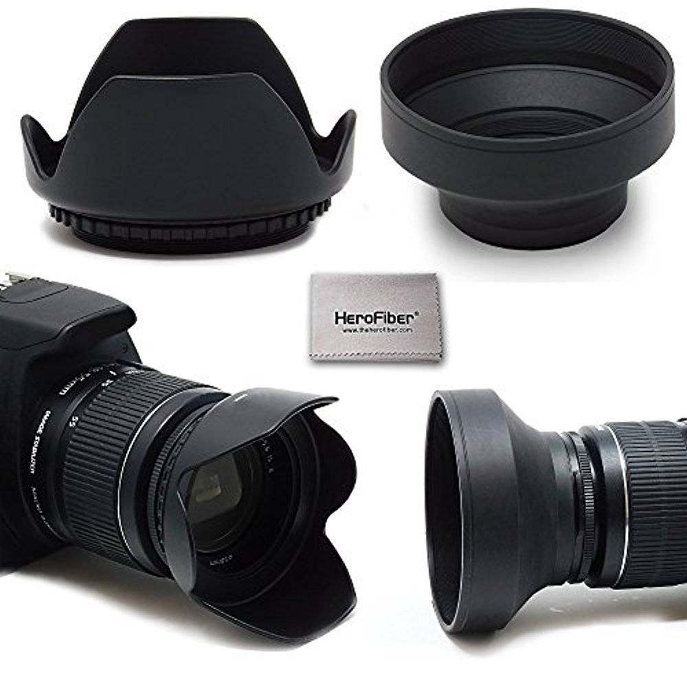 58mm Lens Hood Kit With 58mm Hard Lens Hood + 58mm Soft Lens Hood For Canon Cameras including CANON Rebel (T7i T6S T6i T6 T5i T5 T4i T3i T3 T2i T1i XT XTi XSi SL1), CANON EOS (800D 750D 700D 650D 600D