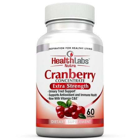 Health Labs Nutra 50: 1 Triple-fort concentré de canneberges avec les vitamines C et E favorise des voies urinaires et Soutien immunitaire (60 action rapide Gélules)