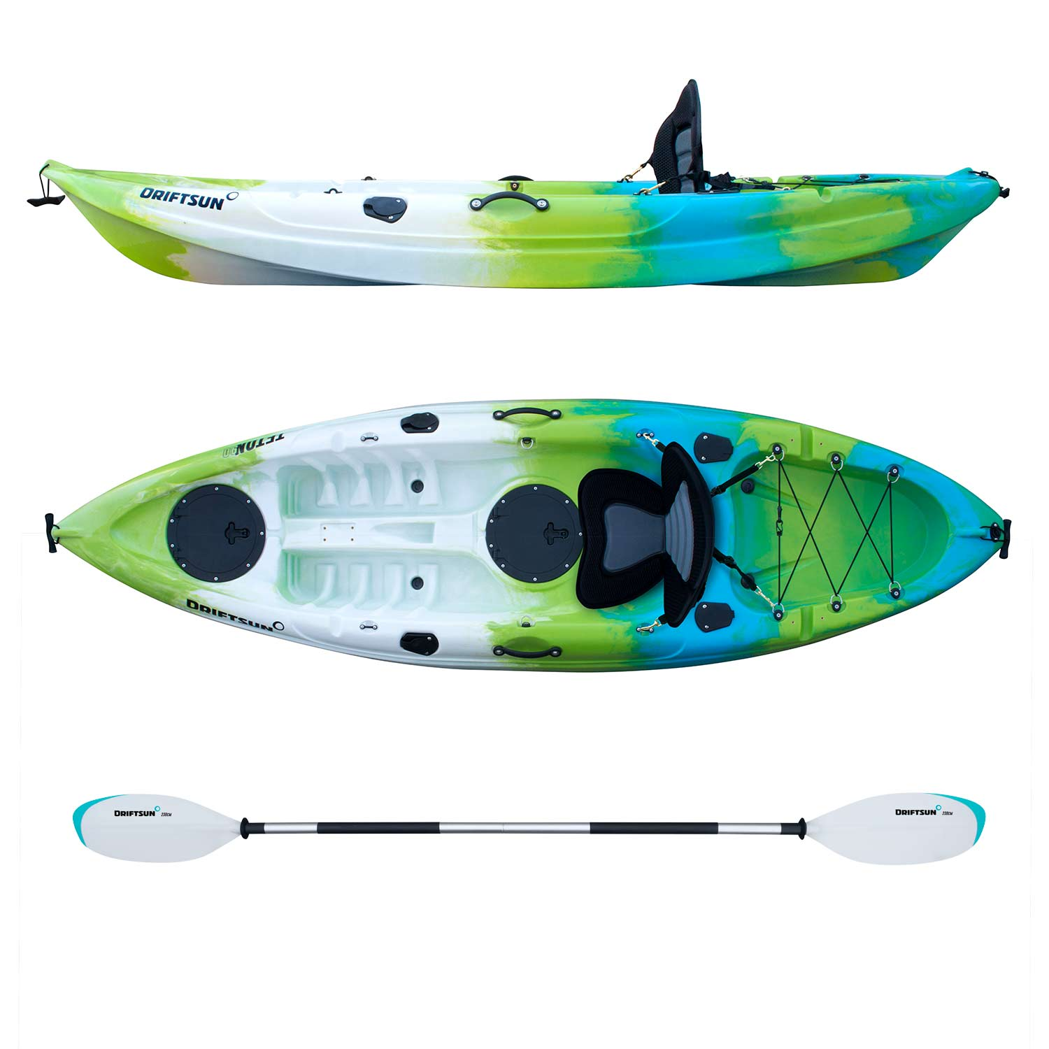 Click here to buy Driftsun Teton 90 Hard Shell Recreational Kayak � Single Person Sit On Top Kayak Package with EVA Seat, Paddle, Fishing... by Driftsun.