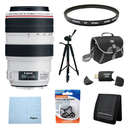 Canon EF 70-300mm f/4-5.6L IS USM UD Telephoto Zoom Lens for Canon EOS SLR Cameras w/ 67mm Multicoated UV Protective Filter, Deluxe Bag, Lens Cap Keeper, Microfiber Cleaning Cloth, Memory Card Wallet