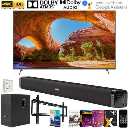 Sony X91J 85 inch HDR 4K UHD Smart LED TV (2021) with Deco Gear Soundbar and Subwoofer Bundle Plus Complete Mounting and Streaming Kit for X91J Series (KD85X91J)