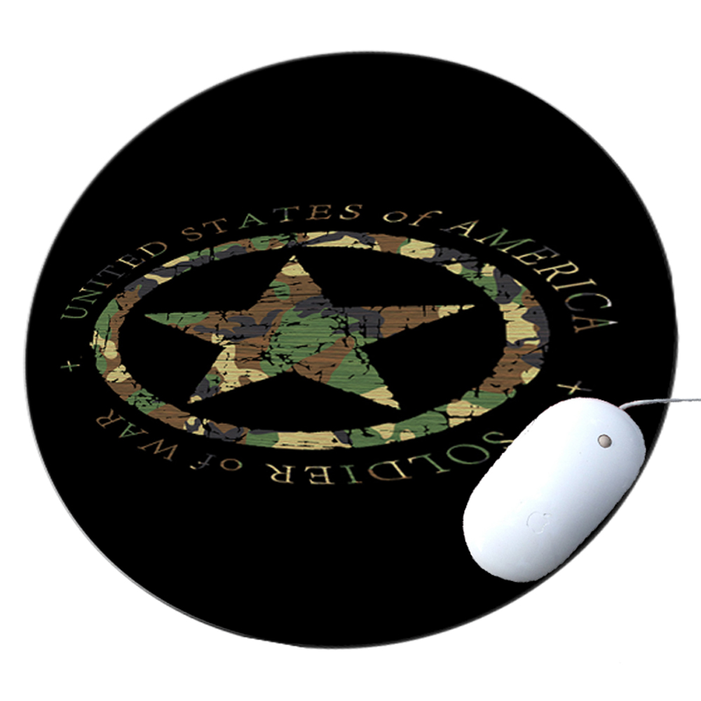 KuzmarK Round Mousepad / Hot Pad / Trivet - Military Soldier Of War Camouflage