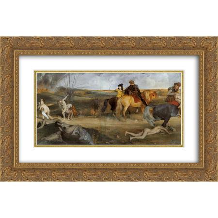 Edgar Degas 2x Matted 24x18 Gold Ornate Framed Art Print 'Scene of War in the Middle