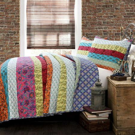 Cozy Line Rainbow Stripe 100% Cotton 3-Piece Quilt Set, King