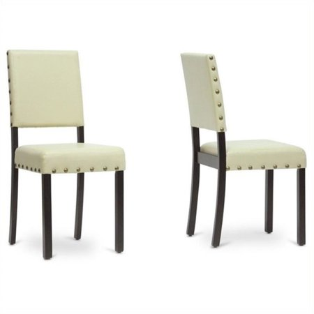 bowery hill faux leather dining chair in cream set of 4 walmart