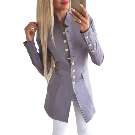 Flap Pocket Wool Blazer - Women Casual Work Office Lapel Pocket Buttons Blazer Suit Jacket Business Coat Long Sleeve Open Front Cardigan Outerwear