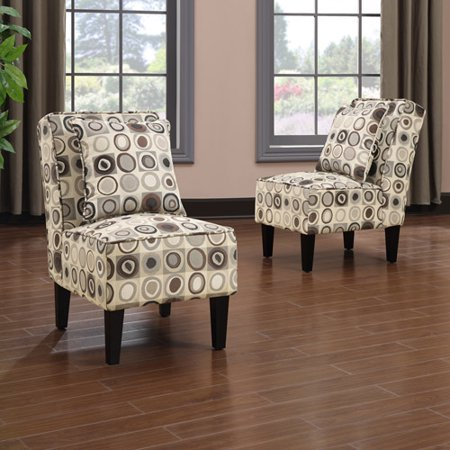 Handy Living Dani Armless Accent Chair, Set of 2, Geometric Circles ...