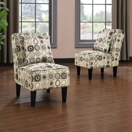 Dani Armless Accent Chair Set of 2, Geometric Circles - Mainstays Tyler Microfiber Storage Arm Futon Sofa Sleeper With Set