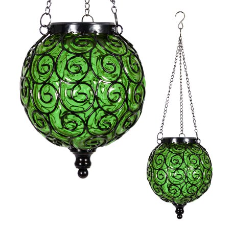 Image of Round Solar Green Glass Hanging Lantern with 12 LED Firefly String Light, Glass Lantern, Hanging Decoration, Backyard/Outdoor / Garden