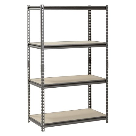 "Muscle Rack 36""W x 18""D x 60""H, 4-Shelf Steel Shelving, Silver-Vein"