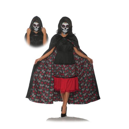 Adult Womens Dia De Los Muertos Reversible Cape Halloween Costume Accessory - Halloween Costume Dia De Los Muertos