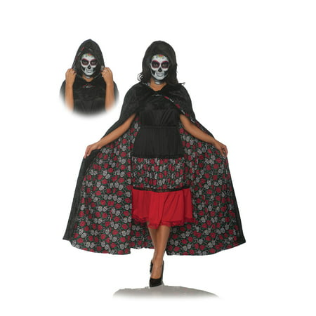 Adult Womens Dia De Los Muertos Reversible Cape Halloween Costume Accessory