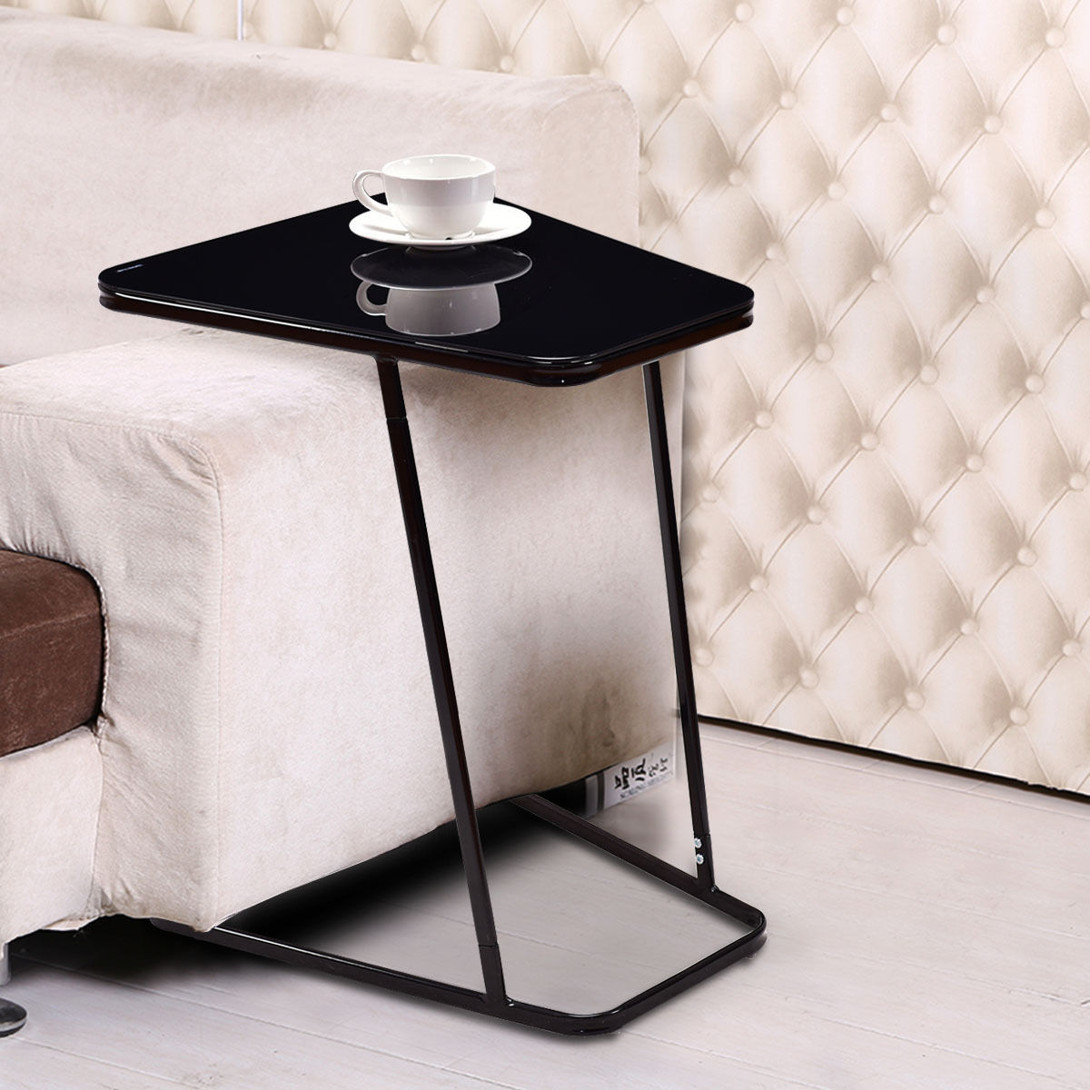 Gymax Modern C Shape Glass Steel End Table Accent Side by Gymax