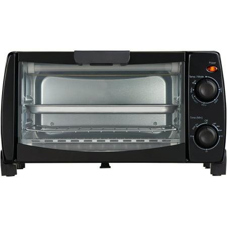 Mainstays 4 Slice Black Toaster Oven with Dishwasher-Safe Rack & Pan, 3 Piece ()