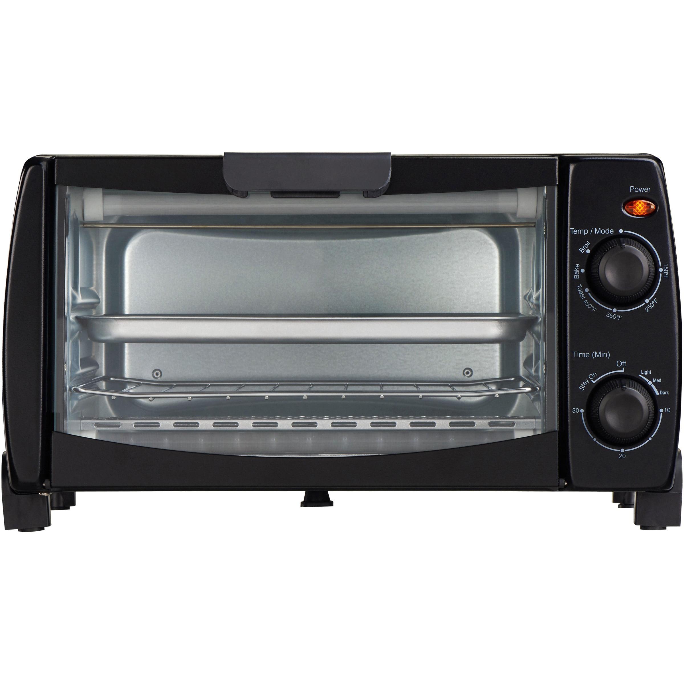 Mainstays 4-Slice Black Toaster Oven with Dishwasher-Safe Rack & Pan