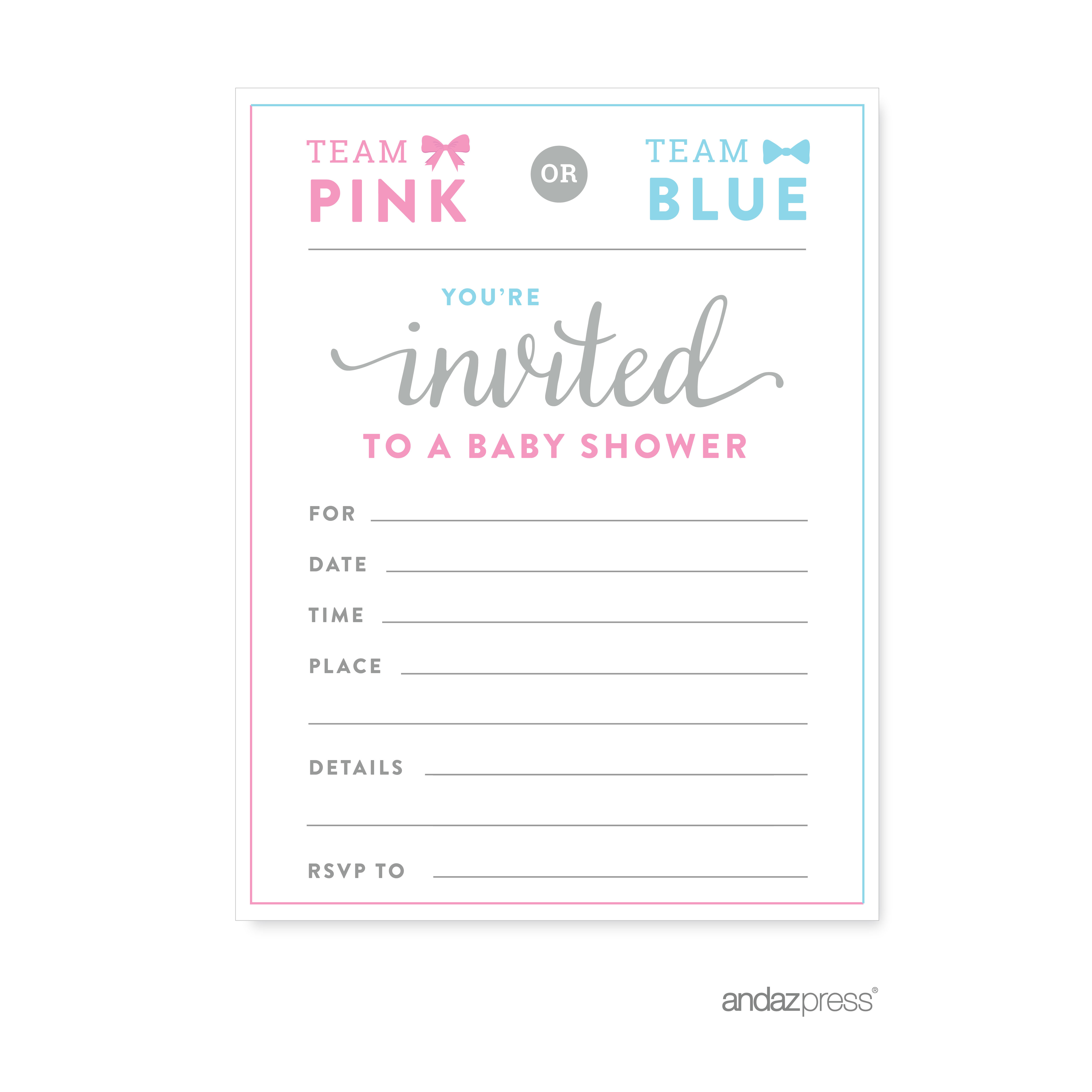 Invitations Team Pink Blue Gender Reveal Baby Shower Party Blank