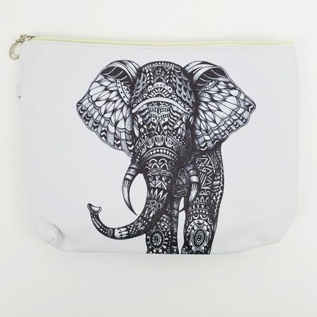 Elephant Design Band (Amtal Women White Black Elephant Design Canvas Printed Wristlet Clutch - 3)