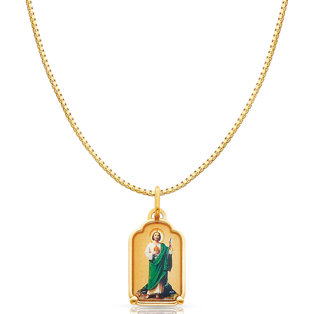 Jude Enamel Picture Religious Pendant Charm 14k Yellow Gold St