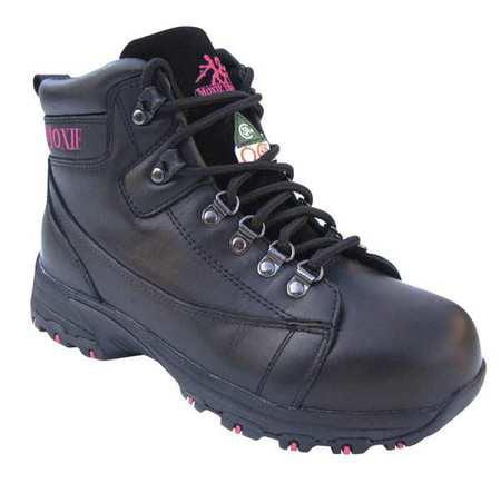Moxie Trades Size 7-1/2 Aluminum Toe Work Boots, Women's, Black, EE, 50121