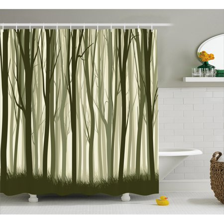 Apartment Decor Shower Curtain, Mother Nature Theme Illustration of Mystic Forest with Trees, Fabric Bathroom Set with Hooks, 69W X 70L Inches, Army Green and Sage Green, by Ambesonne - Mom Shower