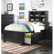Mallowsea 30390t Twin Size Bed With Storage Rail Drawers 6 Compartment Bookcase Headboard Low Profile Footboard
