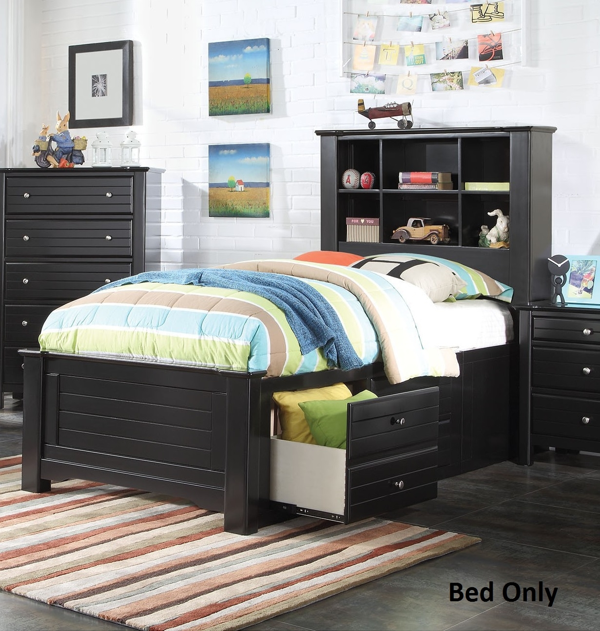 Mallowsea 30390T Twin Size Bed with Storage Rail Drawers  6 Compartment Bookcase Headboard  Low Profile Footboard and Pine Wood Construction in Black Finish