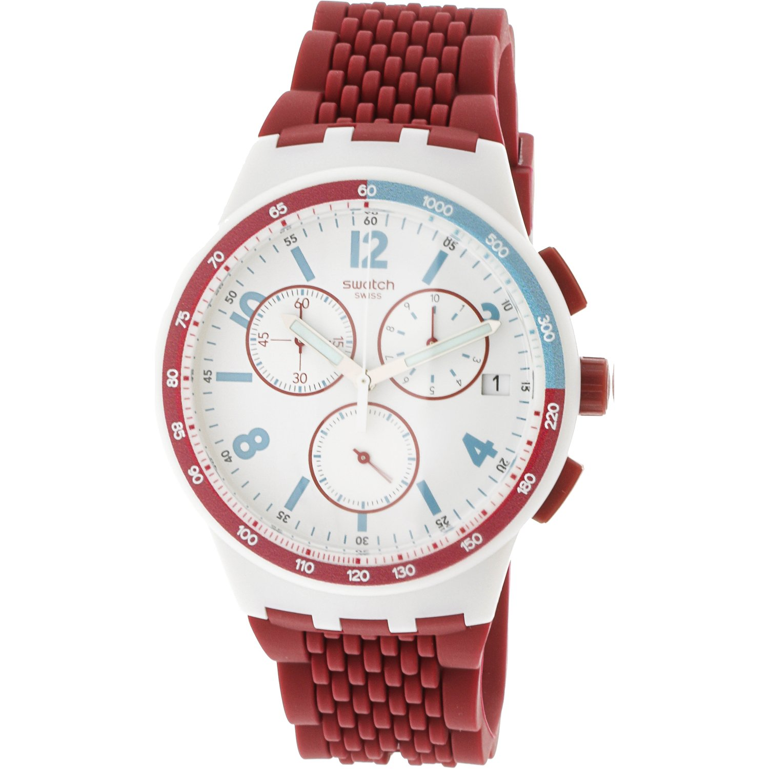 Swatch Men's Red Track SUSM403 Silicone Quartz Fashion Watch