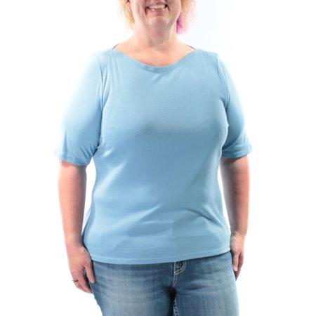 INC Womens Light Blue Short Sleeve Boat Neck T-Shirt Top  Size: M