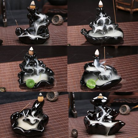 Aromatherapy Diffuser Black Flower Backflow Ceramic Incense Burner Holder Buddhist Censer ()