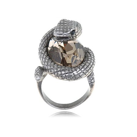 - Cute Synthetic Topaz Crystal Rhinestone Wrap Around Snake Serpent Ring