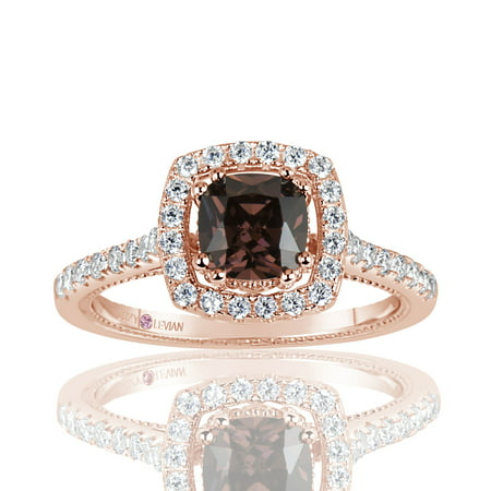 Asscher Cubic Zirconia Ring - Rose Sterling Silver Brown Asscher Cut Cubic Zirconia Halo Engagement Ring