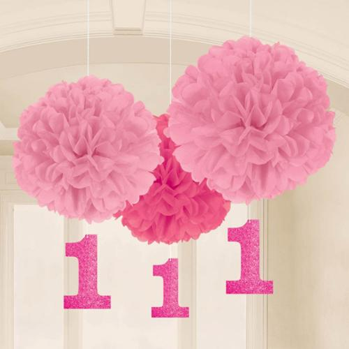 1st Birthday Pink Fluffy Hanging Decorations (16 Pack) - Party Supplies