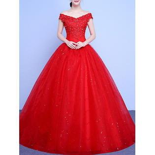 Women Off Shoulder Ball Gown Wedding Dress Ball Bridal Gown