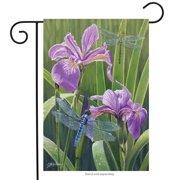 "Iris Dragonflies Garden Flag Spring Decorative Custom Decor 12"" x 18"""