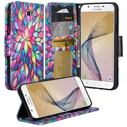 Samsung Galaxy J7 Prime Wallet Case, Wrist Strap Pu Leather Magnetic Flip Fold[Kickstand] with ID & Card Slots for Galaxy J7 Prime - Rainbow Flower